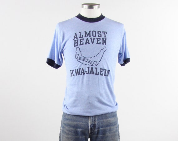 "Kwajalein Tee Shirt ""Almost Heaven"" Blue Ringer T Shirt Size Small / Medium"