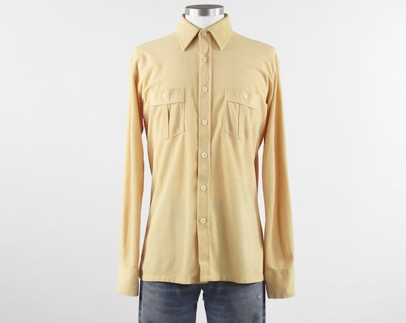 Men's Yellow 70's Shirt Terrycloth Soft Button Down Shirt Vintage Size Medium