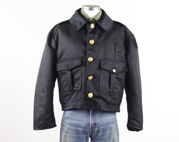 60's Fireman Bomber Jacket Men's Navy Blue Coat with Gold Buttons Vintage Size Medium Large