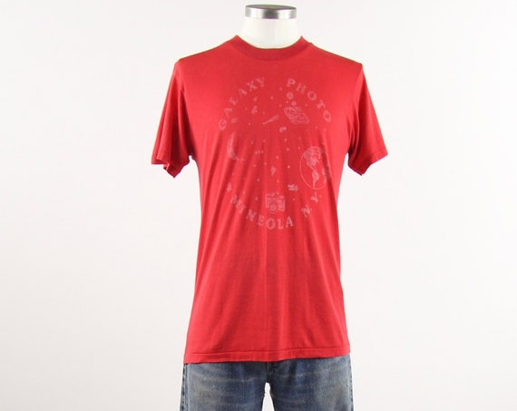 Galaxy Photo Tee Shirt Mineola NY Camera Photography Red Shirt Vintage Size Medium