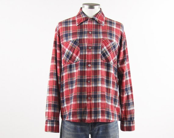 Men's Red Plaid Flannel Long Sleeve Button Down Shirt Size Medium Vintage Size Medium