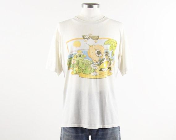 90's Animal Beach Tee Shirt White Paper Thin 90s Grunge Vintage T-shirt Size Medium Large