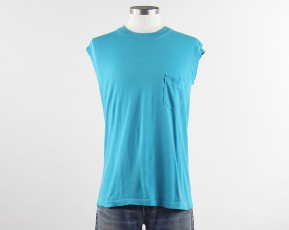 Blank Teal Sleeveless Pocket Tee Paper Thin Blue T-Shirt Vintage Size Medium