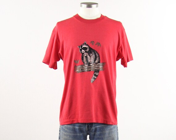 Raccoon Tee Shirt Red Vintage Screen Stars Tshirt Single Stitch Size Medium