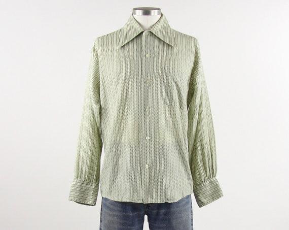 60's Green Vertical Striped Shirt Vintage K-Mart Button Up Shirt Long Sleeve Size Medium