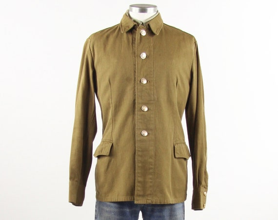 Russian Soviet Military Shirt Canvas Button Up Jacket Men's Vintage Hammer and Sickle Buttons Size Medium
