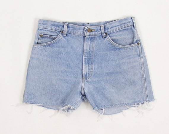 Lee Riders Jean Shorts Light Wash High Waisted Cut Off Shorts Jorts Size 32""