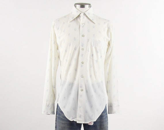 Polyester Men's Paisley Shirt White and Blue Button Down Size Medium