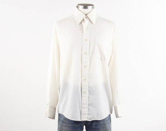 Men's 70's Long Sleeve White Patterned Collared Shirt Vintage Size Medium