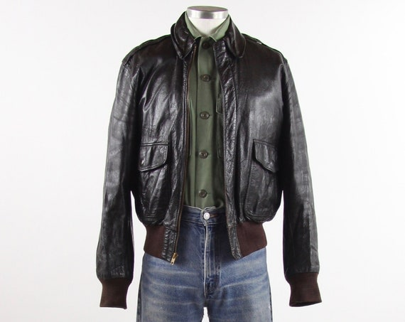 LL Bean A-2 Leather Bomber Goatskin Jacket Vintage Size 40 Men's Medium Made in USA Freeport Maine