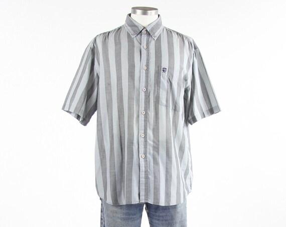 Striped Grey & Blue Men's Shirt Thin Summer Short Sleeve Button Down Vintage Size Medium / Large