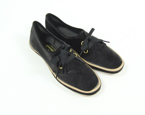 1950's Deadstock Women's Black Velvet Low Top Summer Shoes Vintage Size 5