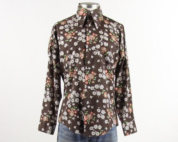 Brown Floral Shirt Men's 70's Button Down Dress Shirt Vintage Size Medium