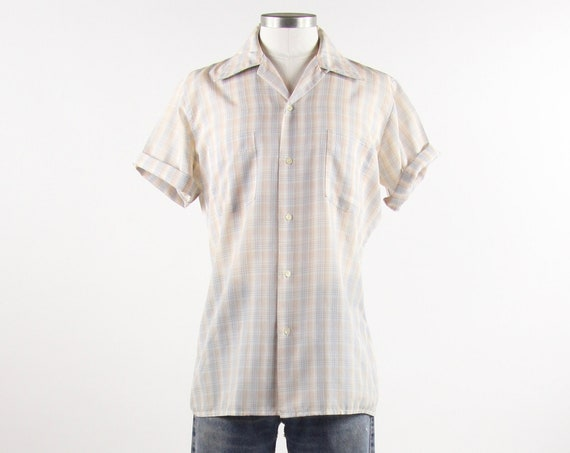 Men's Plaid Shirt Short Sleeve Tan Blue Button Down Vintage Size Medium