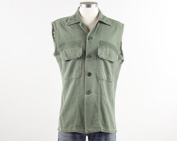 Sleeveless Olive Shirt Green Military Men's Army Shirt Distressed Vintage Size Medium