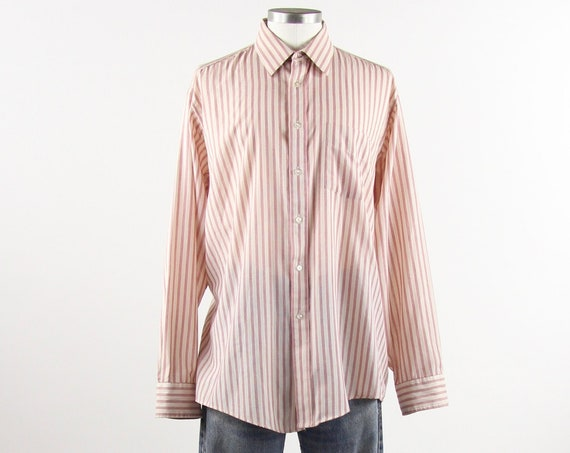 Striped Men's Shirt Red & White Vertical Striped Button Down Vintage Size Large XL