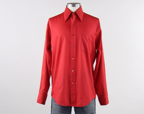 Red 70's Shirt Men's Vintage Button Down Dress Shirt Size Medium Large