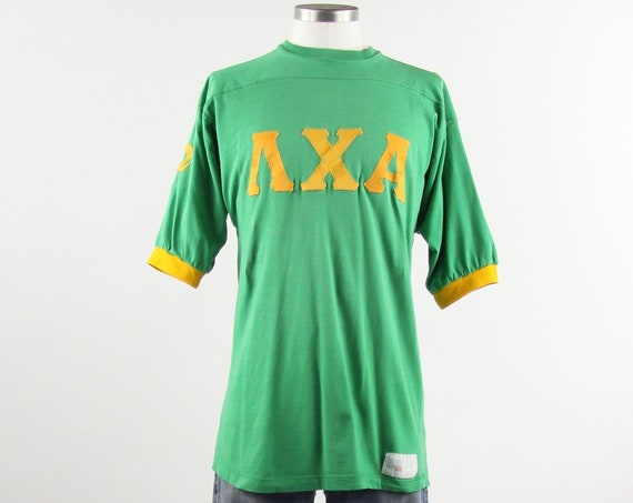 Lambda Chi Alpha Fraternity Shirt Vintage Distressed T-shirt Jersey Size Medium