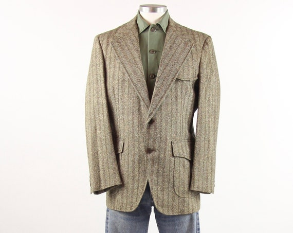 70's Men's Blazer Size Large Wool Jacket Striped Brown Sports Coat Medium Large