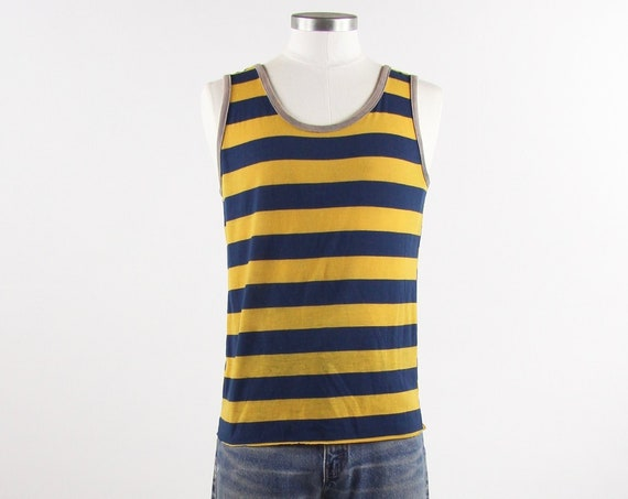 70's Tank Top Yellow and Navy Striped Vintage Tank Top Sleeveless Tee Shirt Size Small