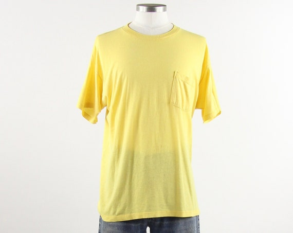 Yellow Pocket Tee Distressed Paper Thin Pocket T-shirt Vintage Size Medium/Large