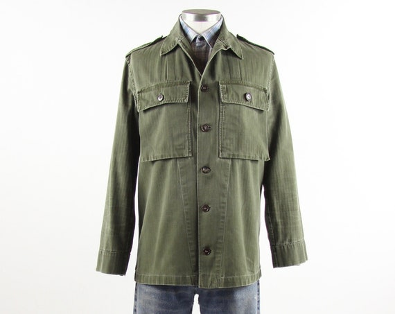 Green Military Shirt Men's Button Down Long Sleeve Olive Green Fatigue Size Medium