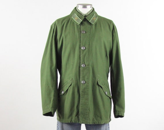 Swedish C52 Field Jacket Green Military Coat Size Medium/Large