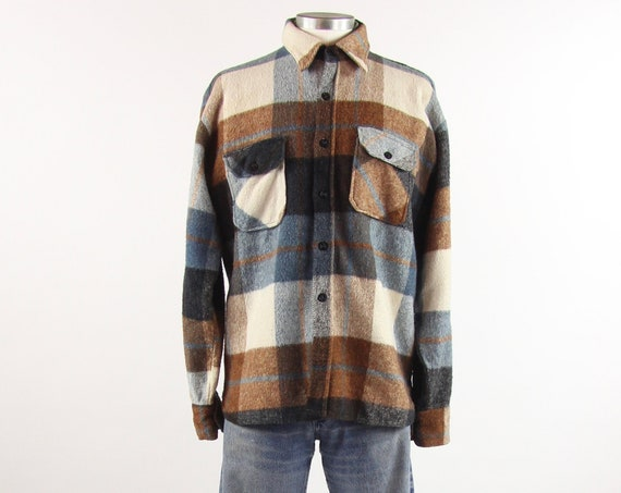 Men's Flannel Shirt Size Large Penny's 50's Vintage Flannel Shirt Button Up Heavy Winter Jacket