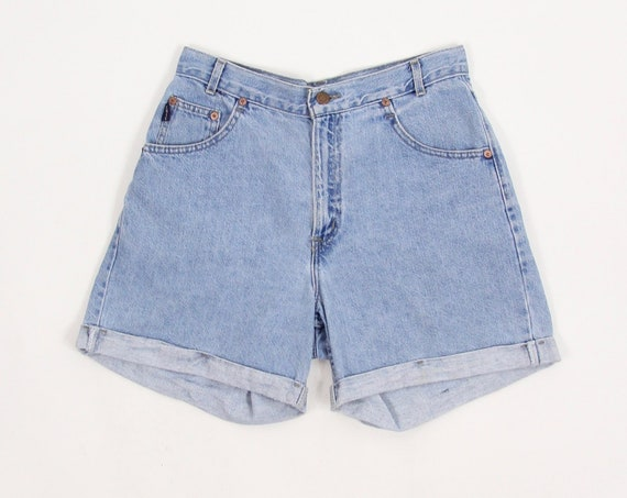 "Chic Jean Shorts Vintage Women's High Waisted Denim Jean Shorts Jorts Size 28.5"" Made in the USA"
