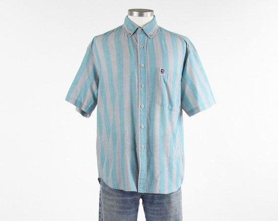 Brittania Striped Soft Thin Men's Grey Teal Vintage Button Down Shirt Size Medium / Large