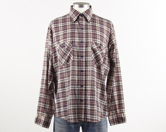 Maverick Plaid Shirt Men's Vintage Button Down Shirt Size Medium Large