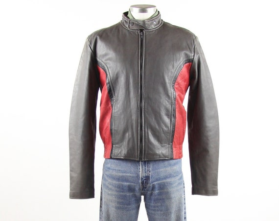 80's Leather Cafe Racer Jacket Red & Grey Vintage Leather Coat Men's Size 40 Medium