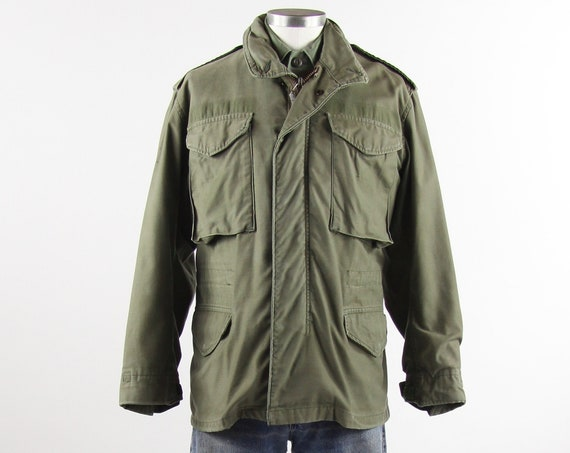 OG-107 Field Jacket Olive Green Military Coat Vietnam 70's Jacket Size Small Short