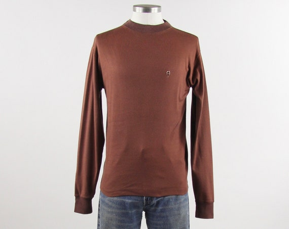 70s Brown Long Sleeve Shirt Turtle Neck with Hand Stitched Embroidery Soft Cotton Small