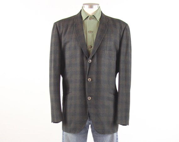 50's Plaid Men's Blazer Grey Green Sports Coat Jacket Size Large Made in Kentucky