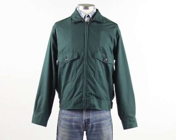 Green Mechanic Work Jacket Men's Garage Uniform Zip Up Light Jacket Vintage Size Medium / Large