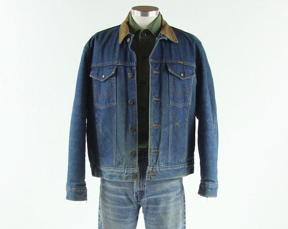 70's Wrangler Jean Jacket with Wool Lining and Corduroy Collar Vintage Size Large