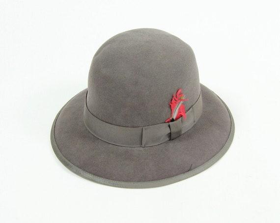 Grey Felt Hat Wide Brim Round Hat Fedora Vintage Size Extra Large XL
