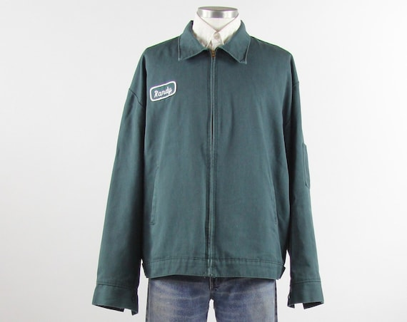 "Mechanic Work Jacket ""Randy"" Green Garage Uniform Men's Vintage Size Large Extra Large Made in the USA"