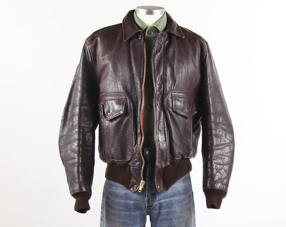 Brown Leather Bomber Jacket Dark Brown Maroon Flight Coat Pilot Jacket Vintage Size Medium