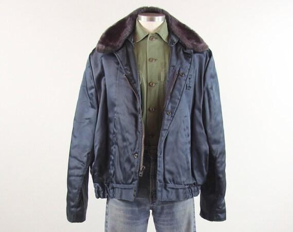 Men's Winter Bomber Coat Navy Blue Heavy Duty Military Jacket Size Large 46