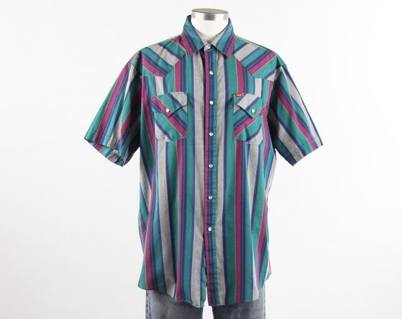 Teal Western Shirt Men's ELY Striped Shirt Short Sleeve 90s Snap Button Down Vintage Size XL