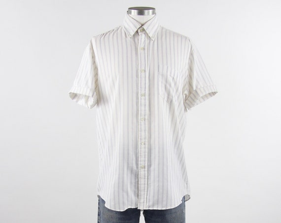 Mens Vertical Striped Shirt Vintage Button Down Short Sleeve Mechanic Shirt Size Medium Large