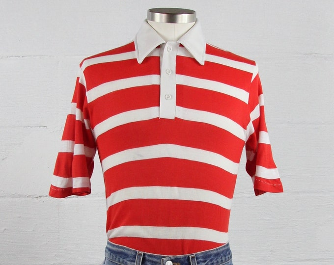 Red and White Striped Men's 70's Collared Polo Shirt Vintage Size Medium