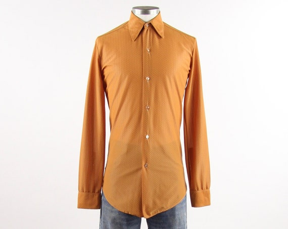 Men's Orange 70's Shirt  Long Sleeve Button Down Dress Shirt Diamond Pattern Vintage Size Small Medium