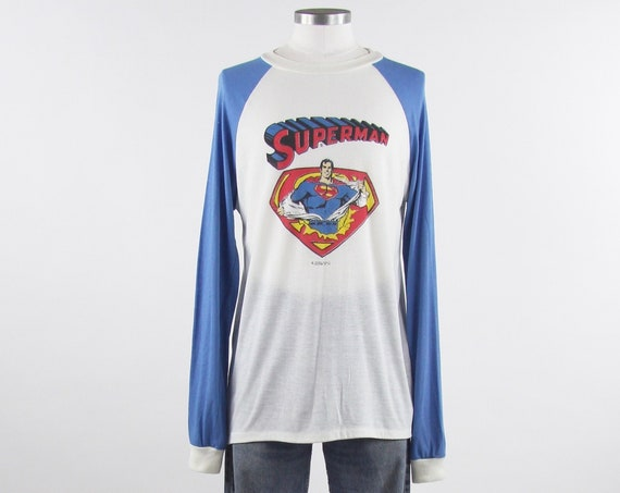 1978 Superman Shirt RARE DC Comic Action Hero Blue Raglan Vintage Long Sleeve Shirt Size Medium