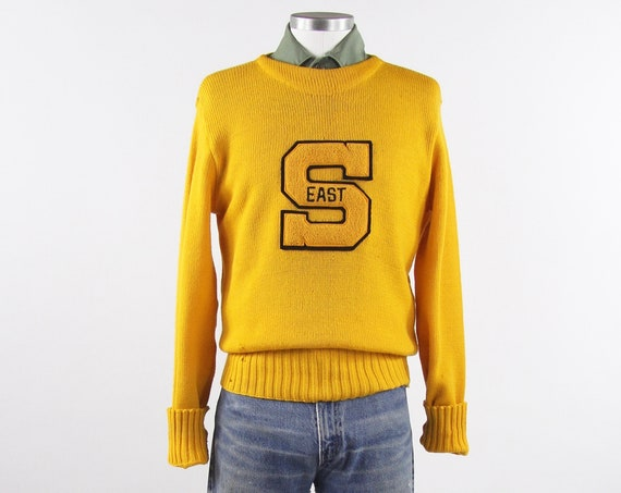1950's Varsity Sweater Yellow Letterman Pullover Sweater Gerry's Sport Shop Vintage Size Medium