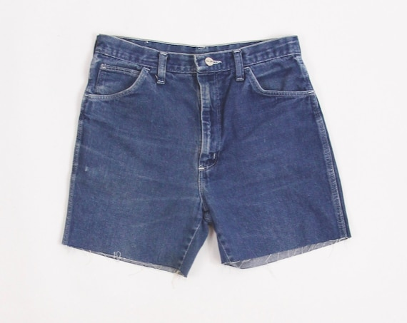 Wrangler Dark Wash High Waisted Cut Off Jean Shorts Jorts Tag Size 32