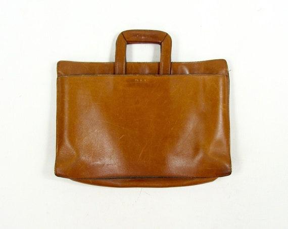 Caramel Brown Leather Computer Laptop Work Bag Briefcase