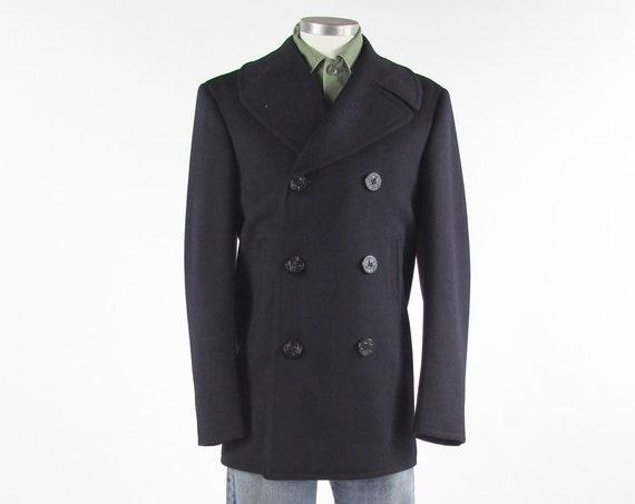 Navy Blue Peacoat Men's Winter Military Coat Jacket Vintage Size 36 R Medium / Large